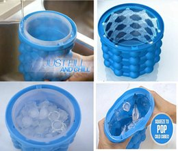 Wholesale Cube Holder - 60pcs New Ice Cube Maker Genie Space Saving Ice Genie Silicone Ice Bucket Kitchen Bar Auto Tools Drink Holder H412