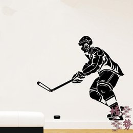 Wholesale Sofa Decorations - Hockey sport wall stickers decoration decor home decal fashion waterproof bedroom living sofa family house glass