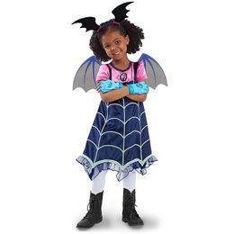 Wholesale regular hair - Vampirina Cartoon Half Sleeves Costumes Dress For Kids Children Party Celebration With Hair Band Halloween Stage XMAS Clothing MMA384