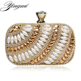 Wholesale Bronze Bling - YINGMI Acrylic Bling Bling Women Evening Bags Rhinestones Handbags With Chain Shoulder Bag Imitation Pearl Evening Bag