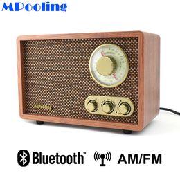 радиоуправляемые радиостанции Скидка MPooling настольный дерево AM/FM-радио старинные ретро классический Bluetooth радио TrebleBass управления встроенный динамик AC110~130/220~240V