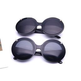Wholesale Circle Color Lens - Lovely Plain Glass Spectacles High Definition Lens Men Women Sunglasses Circle Flip Cover Sun Glasses Excellent Quality 7qa B
