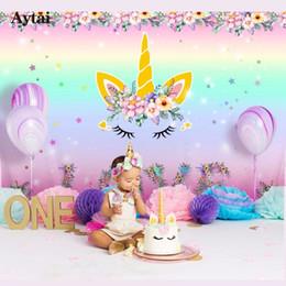 2019 plumas de pavo teñidas Aytai Unicorn Party Telón de fondo Unicornio Foto Telón de fondo Baby Shower Rainbow Birthday fiesta temática Diy Decoraciones 210 * 150 cm