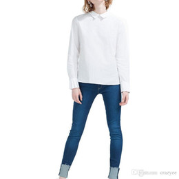 Wholesale White Peter Pan Blouse - women basic white cute peter pan collar shirts back zipper office blouses long sleeve solid work wear casual tops LT877