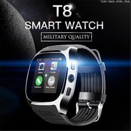 2019 smart sms sincronizzazione orologio 2018 New Fashion T8 Bluetooth Smart Watch con fotocamera lettore musicale Facebook Whatsapp Sync SMS Smartwatch per donne uomini smart sms sincronizzazione orologio economici