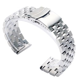 Качественные черные часы мужские онлайн-High Quality 20/22mm Silver/Black Bracelet Men Women Watch Band Strap Cool Replacement Solid Link Stainless Steel Watchstrap