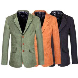 bd97ca3e6958b Chaqueta de traje retro vintage para hombre Chaqueta de gamuza de hombre  Casual Slim Fit Diseño Verde oliva Negro Marrón Gris