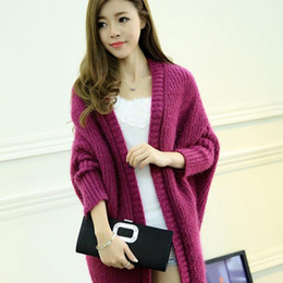 Wholesale Long Mohair Cardigan - Wholesale- Medium-long cardigan autumn batwing sleeve loose plus size fashion outerwear female long-sleeve knitted mohair sweater