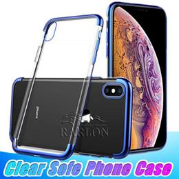 slim fit iphone Rebajas Funda transparente de TPU Slim Fit Silicona Cubierta transparente suave Chapado Galvanoplastia Edge para iPhone 11 Pro Max XS Max XR 8 Samsung s10 nota 10