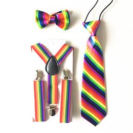 2019 cravatta cravatta 3PCS Bambini Bambini Arcobaleno Ragazzi Bretelle Cravatta Bowtie Imposta Cinghie Regolabili Bretelle Y-Back Cravatta Bretelle Party BDTZ020 cravatta cravatta economici