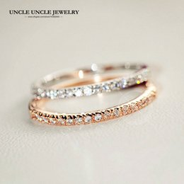 Wholesale Knuckle Band Rings - Elegant!!! Rose Gold Color Rhinestones Micro Inlays 1mm Thin Lady Finger Knuckle Ring Wholesale 18krgp