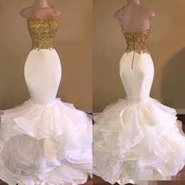 Wholesale Organza Dress Ruffle Designer - New Designer Gold And White Mermaid Prom Dresses 2018 Spaghetti Backless Ruffles Appliques Evening Gowns Pageant Dress Formal robe de soiree