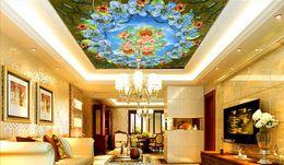Orchidea 3d online-personalizzato 3d soffitto Orchidea rosa cielo carta da parati rotolo soggiorno stereoscopico 3d wallpaper 3d soffitto miglioramenti casa moderna