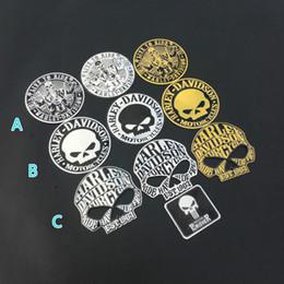 Autocollants d'emblème de logo de voiture en Ligne-Car Styling 9 cm 3D Métal Crâne Autocollant De Voiture De Moto Emblème Badge Stickers Autocollant Personnalisé Crâne Logo Autocollant Accessoires