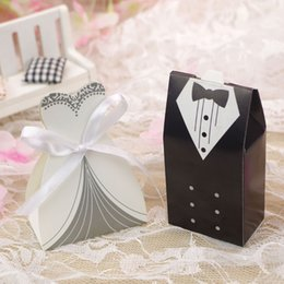 Wholesale Wedding Sugars Favors - Wedding Decoration Bridal Gift Cases Groom Tuxedo Dress Gown Ribbon Wedding Favors Candy Box Sugar Case
