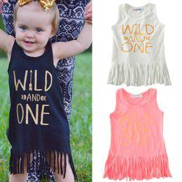 2019 bodys algodão orgânico Bebê selvagem one borla saia bebê SELVAGEM E UMA Carta Impresso Vestido Menina carta Vest Saia