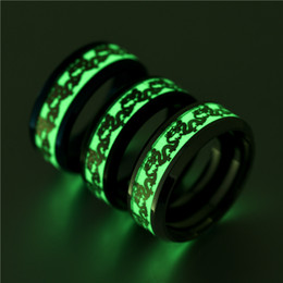 Wholesale Chinese Dragon Plates - Chinese Tradition Dragon Ring Gold Stainless Steel Rings for Women Men Luminous Ring Hip Hop Glow in the Dark bague Ring
