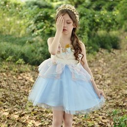 Wholesale Fancy Embroidered Dresses - Fancy Kids Unicorn Tulle Dress for Girls Embroidery Ball Gown Baby Flower Girl Princess Dresses Wedding Party Costumes