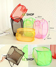 hamper clothes basket Coupons - Foldable Mesh Color Mesh Hamper Laundry Basket Clothes Storage supplies Laundry Basket Bin Hamper Mesh Storage Bag Wholesale LDH157