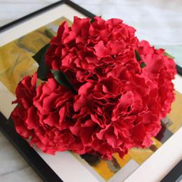 Piante artificiali di ortensia online-Hydrangea Artificial Flowers 5 Big Heads 2 Bounquet Decorazione di cerimonia nuziale Piante artificiali Accessori per la decorazione della casa P30