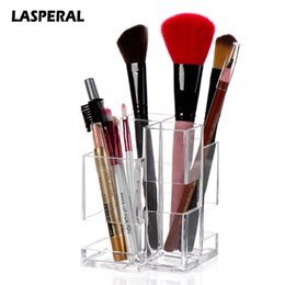Стойки для чистых пера онлайн-Lasperal Transparent Acrylic Cosmetic Storage Boxes Clear Display Case Stand Rack Pen Holder Brush Makeup Organizer Storage Bins