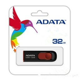 Wholesale 128 usb drives - 100% real 32gb 16gb 8gb ADATA C008 16GB USB 2.0 Retractable Capless Flash Drive Blue AUV128-16G-RBE