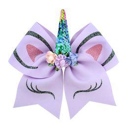 INS Prenses Kız Unicorn JOJO Siwa Cheer Bow Ponyrtail Tutucu Ile Şerit Saç Yay Kumaş Amigo Yay Kızlar JOJO Hairbands H63 nereden küçük ayı aksesuarları tedarikçiler