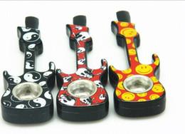 2019 ligas de guitarra Moda Novo Design Portátil Tubulação De Liga de Alumínio Da Tubulação Da Guitarra De Metal Tubos De Fumo com Pacote de Varejo Enviar Telas de Tubulação Frete Grátis desconto ligas de guitarra