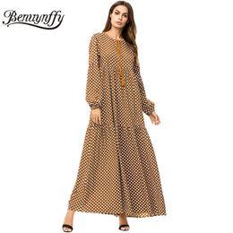 Benuynffy Brown Tassel Tie Big Swing Dresses 2018 Autumn Winter Plus Size  Women Casual O-neck Long Sleeve Polka Dot Maxi Dress plus size polka dot  maxi ... b9fd3a5720e6