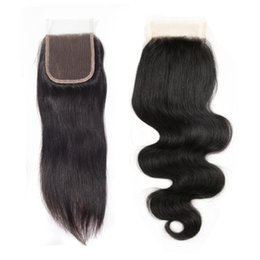 Wholesale factory direct parts - Factory Direct ON SALE Brazilian Virgin Hair Top Lace Closure 8-18inch 4x4 Straight Body Wave Middle Three Free Part Human Hair Closure