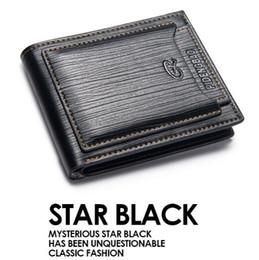 2019 carteras de tarjetas fresco 2 colores nuevo Vintage PU para hombre carteras café negro de cuero de imitación tarjeta de crédito Bifold monedero CCA8943 20pcs rebajas carteras de tarjetas fresco