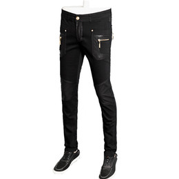 Wholesale Leather Pants 36 - top quality fashion men leather jacket slim fit skinny pu straight trousers 28-36 CYG98