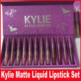 Wholesale Bright Charms - IN Store Kylie 12 Colors Charm Moisturizing Bright Lipgloss Set matte liquid lipstick Non Stick Cup Good