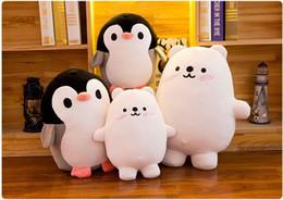 Baumwollbär füllung online-Lovely Polar Bear Penguin weichem Plüsch Spielzeug Eiderdaunen Baumwolle gefüllt Plüsch Puppe Kinder Geburtstagsgeschenk