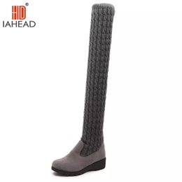 Wholesale thigh high open toe boots - IAHEAD Brand Shoes Fashion Knitted Women Knee High Boots Elastic Slim Winter Warm Long Thigh High Boots Woman Shoes UPC343