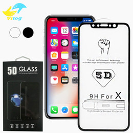 Wholesale Film Covers - For Iphone 8 X 5D Tempered Glass Curved Screen Protector for iPhone6 6S 7 8 Plus X Edge Full Cover Film 3D Edge