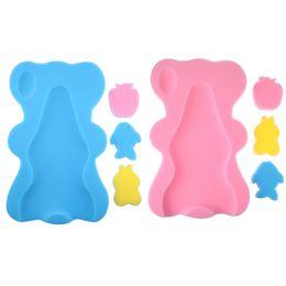 Asiento infantil online-Baby Infant Soft Bath Sponge Seat Cute Antideslizante Almohadilla de espuma Mat Body Support Safety kids Cojín Sponge productos de baño