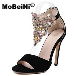 Wholesale Roman Gladiator Sandals Men - MoBeiNi 2017 New Women Summer Sandals Roman Style Bud Silk Diamond Flock High Heels Stiletto Party Shoes Woman Free Shipping