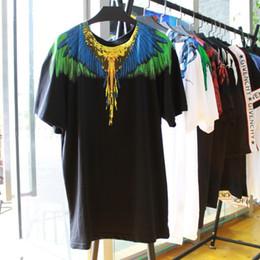 Wholesale over sized - MB MURBON MARCELO BURLON Men Short Sleeve COTTON T-Shirt INK GOLD GREEN Wing Shirts Tee OVER EU Size XS-XL