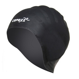 2428ffe680f swimming hat silicone Coupons - COPOZZ Swimming Cap Silicone Waterproof Hat  for Long Hair Professional Ear