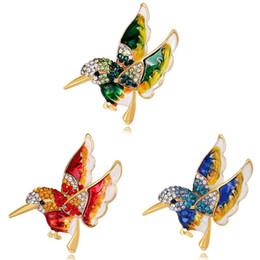 Joyería de la mosca online-Colorido esmalte Flying Bird Metal Bird broche prende la insignia del perno regalo joyería pernos botón regalo venta al por mayor broche