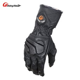 Wholesale Goatskin Gloves - Goatskin Motorcycle Gloves Genuine Leather Winter Good Protection Motorcyclist Motorbike Rider Moto Racing Guante MCS-36