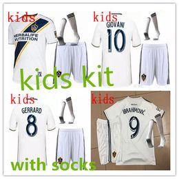 Wholesale Boys 18 - LA Galaxy Soccer Jersey KIDS kit home 18 19 IBRAHIMOVIC GIOVANI ZARDES GERRARD children Football new 2018 19 LA Galaxy kids kits + socks