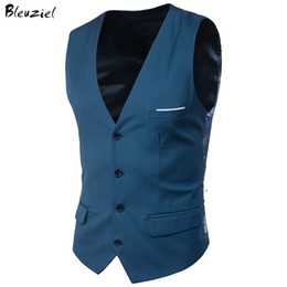 Wholesale Gold Suit Jackets For Men - Bleuziel 9 Colors Suit Vest For Men Slim Fit Dress Vests Male Waistcoat Gilet Homme Casual Sleeveless Formal Business Jacket