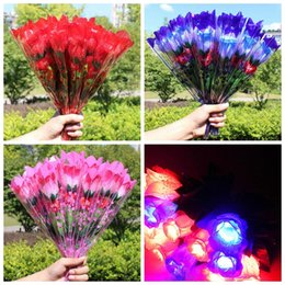 Wholesale Valentines Day Party Supplies - LED Light Up Rose Flower Valentines Mothers Day Gift Birthday Party Supplies Wedding home decor Decoration LED Toys