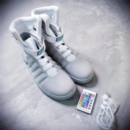 Wholesale Black Wide Calf Boots - Limited Edition Air Mag Back To The Future Glow In The Dark Gray Sneakers Marty McFly's LED Shoes Black Mag Marty McFlys Boots With Box