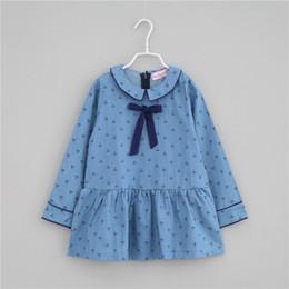 2020 vestido de niña de blue jeans Niñas niños vestidos de mezclilla Niñas 2018 Nueva primavera otoño niña de manga larga Jeans vestido Ropa de la marca de los niños ropa para niños vestido de niña de blue jeans baratos