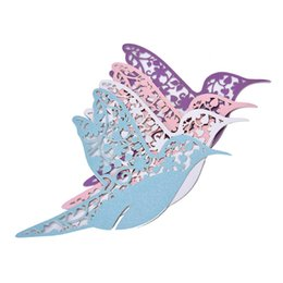 Wholesale Place Cards Birds - Wholesale- DIY Place Card Flying Birds Cups Glass Wine Wedding Name Cards Laser Cut Pearlscent Paper Cards Birthday Party Decoration 50pcs