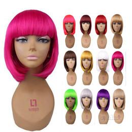 серый парик косплей Скидка 12 дюймов короткие кудрявый прямо с челкой боб парики косплей красный серый 29 цветов для костюм парик для женщин партии