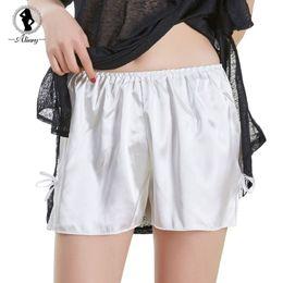 Pantalones ajustados de satén online-ALINRY pantalones cortos de seguridad mujer encaje satinado sin costura boxer shorts verano elasitc debajo de la falda ropa interior transpirable medias cortas